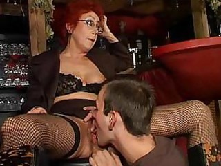 European German Glasses Licking Lingerie Mom Old And Young Redhead Stockings