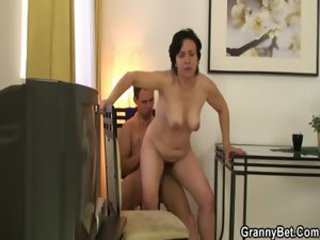Brunette Mom Old And Young Riding