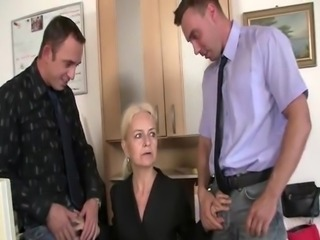 Old And Young Secretary Threesome