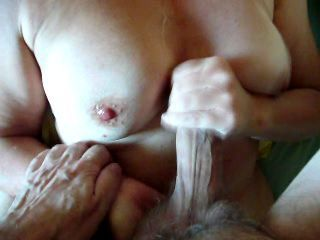 Amateur Cumshot Handjob Homemade Nipples Older  Wife