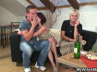 Drunk Family Old And Young Smoking Threesome