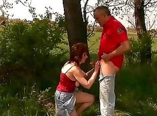 Blowjob Clothed Older Outdoor