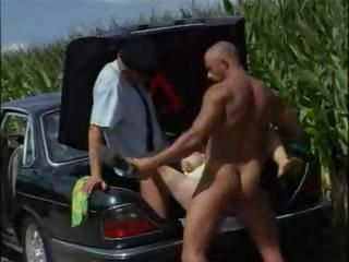 Car Farm Hardcore Old And Young Outdoor Threesome