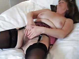 Amateur Chubby Hairy Masturbating Stockings