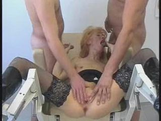 Blowjob Mature Stockings Threesome