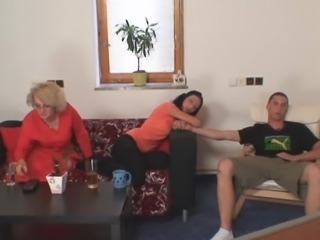Family Mom Old And Young Threesome