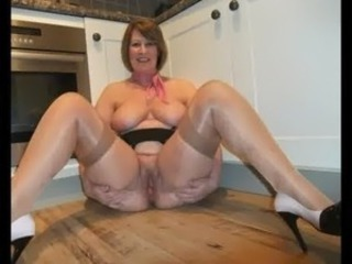 Big Tits Kitchen Natural Pussy  Stockings