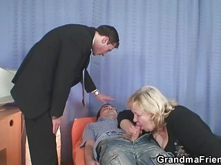 Blowjob Clothed Old And Young Threesome