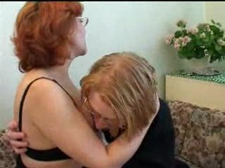 Glasses Mature Mom Old And Young Redhead