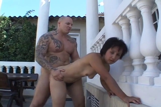 Doggystyle Hairy Hardcore Mom Old And Young Outdoor Skinny
