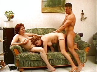 Chubby Family Mom Old And Young Threesome