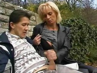 Clothed Handjob Mature Outdoor Public