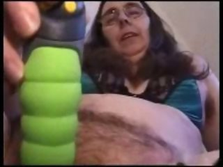 Amateur Dildo Glasses Hairy Homemade Masturbating Toy