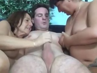 Chubby Handjob Old And Young Threesome