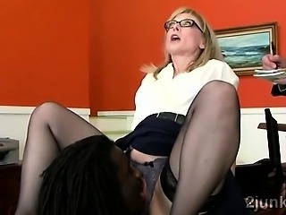 Glasses Interracial Licking Mature Office Secretary Stockings