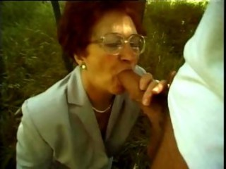 Big Cock Blowjob Clothed Glasses Outdoor Teacher