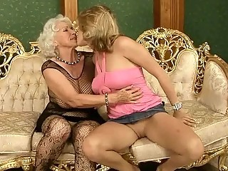 Fishnet Lesbian Lingerie Old And Young Stockings