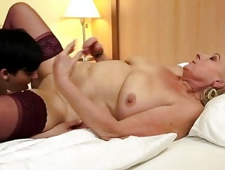 Lesbian Licking Old And Young  Stockings