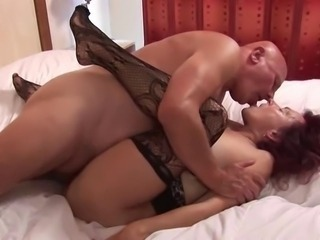 Kissing Older Stockings Wife