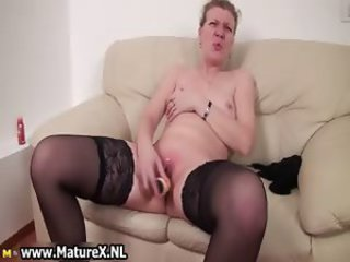 Dildo Masturbating Shaved Skinny Small Tits Solo Stockings Toy