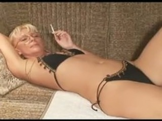 Bikini Blonde Fetish Glasses Panty Smoking
