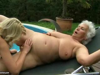 Chubby Lesbian Old And Young Outdoor Pool