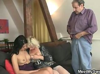 Family Old And Young Threesome