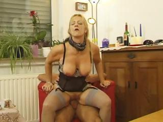 Hairy Lingerie Mature Riding  Stockings