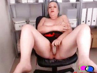 Dildo Masturbating Office Solo Toy Webcam