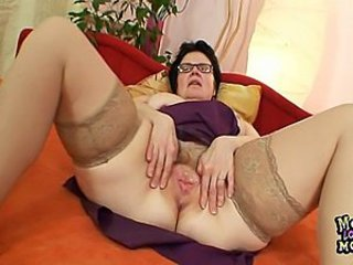 Close up Glasses Hairy Pussy Stockings