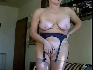 Amateur Homemade Masturbating Natural  Stockings Wife