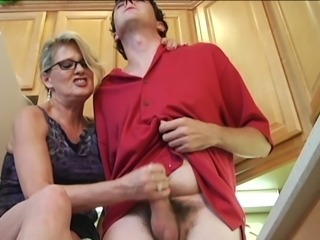 Glasses Handjob Mom Old And Young Small Cock