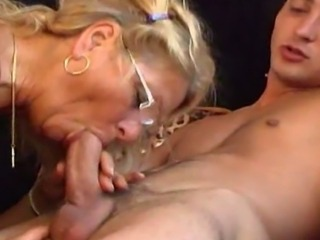Blonde Blowjob Glasses Mom Old And Young