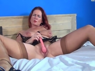Masturbating Mature Mom Redhead Solo Stockings Toy