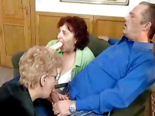 Blowjob Clothed Glasses Older Threesome