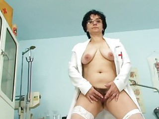 Brunette Chubby Doctor Glasses Hairy Masturbating  Solo Stripper Uniform