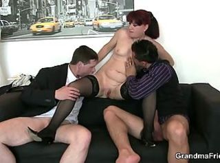 Office Old And Young Secretary Shaved Small Tits Stockings Threesome