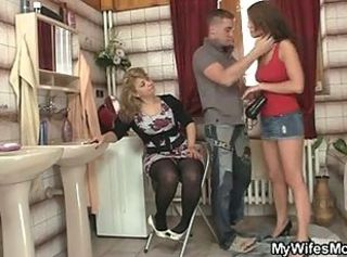 Bathroom Family Mom Old And Young Threesome
