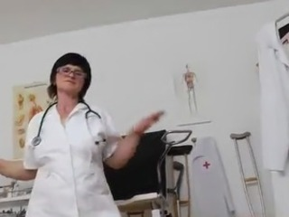 Brunette Doctor Glasses Solo Stripper Uniform