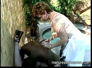 Interracial Old And Young Outdoor Pool Threesome
