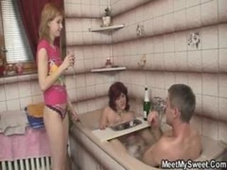 Bathroom Drunk Family Old And Young Threesome