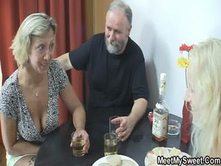 Drunk Family Old And Young Threesome