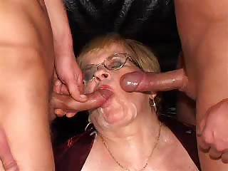 Blowjob Cumshot European German Glasses Swallow Threesome