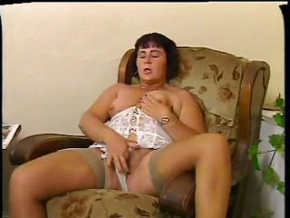 Chubby Lingerie Masturbating Mature Mom Stockings