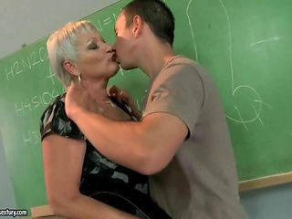 Kissing Mom Old And Young Teacher