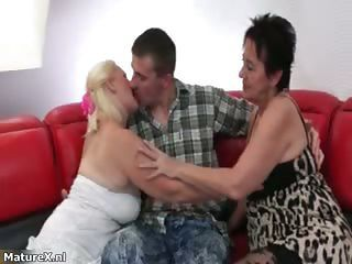 Family Kissing Old And Young Threesome