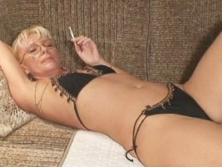 Bikini Glasses Mature Mom Panty Smoking