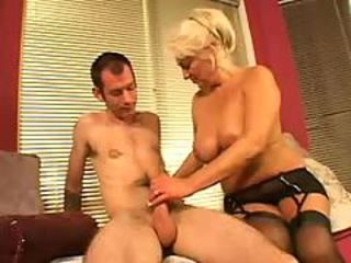 Blonde Handjob Lingerie Mature Mom Old And Young Stockings