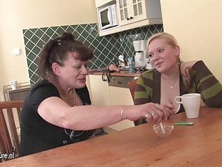 Kitchen Lesbian Old And Young Smoking