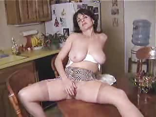 Amateur Big Tits Homemade Kitchen Masturbating Mature Mom Natural  Solo Stockings